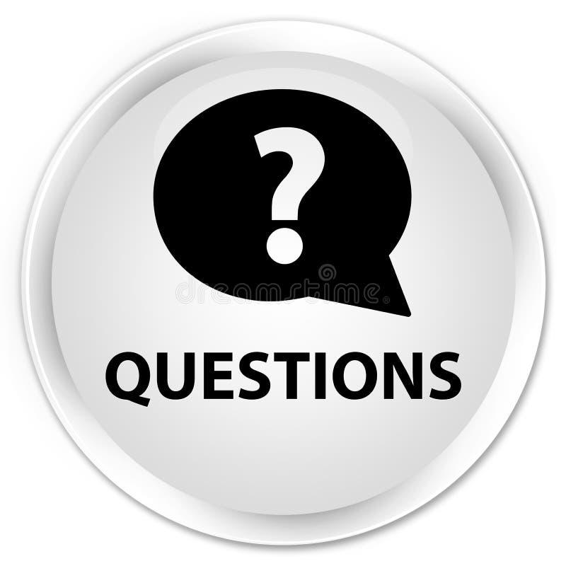 Спрашивает (значок пузыря) наградную белую круглую кнопку иллюстрация штока
