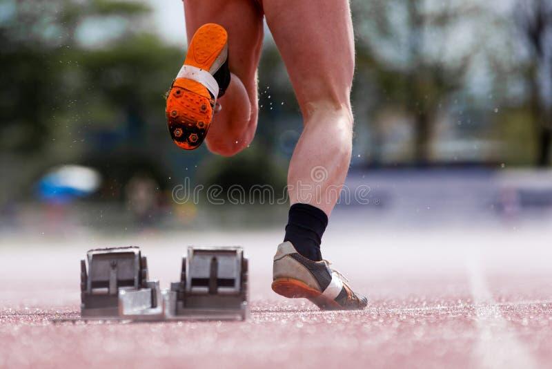 спринтеры угла низкие начинают взгляд стоковые фото