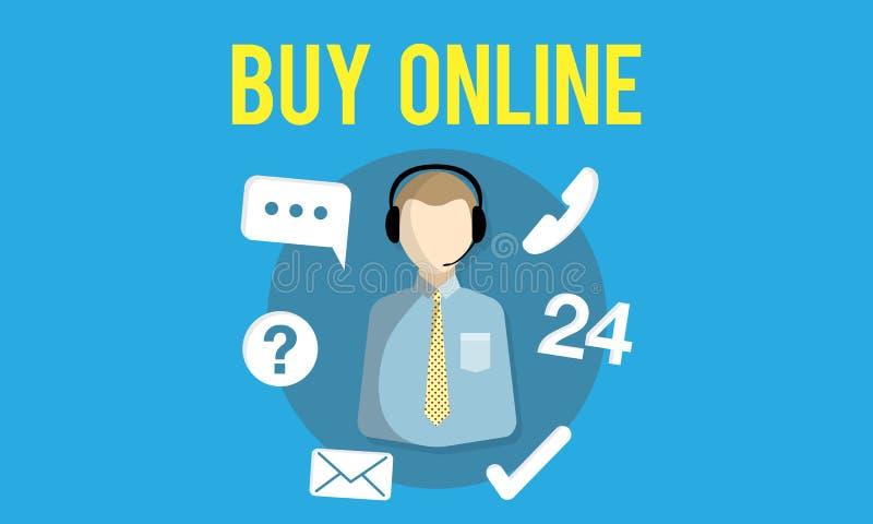 Спросите, что мы покупаем онлайн советуйте с свяжитесь мы концепция работы с клиентом иллюстрация вектора