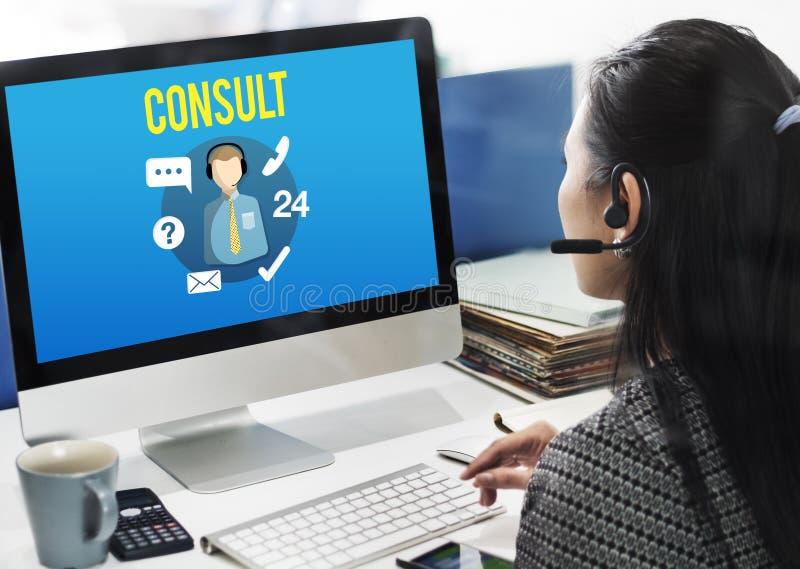 Спросите, что мы покупаем онлайн советуйте с свяжитесь мы концепция работы с клиентом стоковые фотографии rf