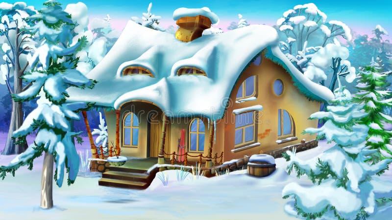 Спрус и сосны около дома сказки иллюстрация штока