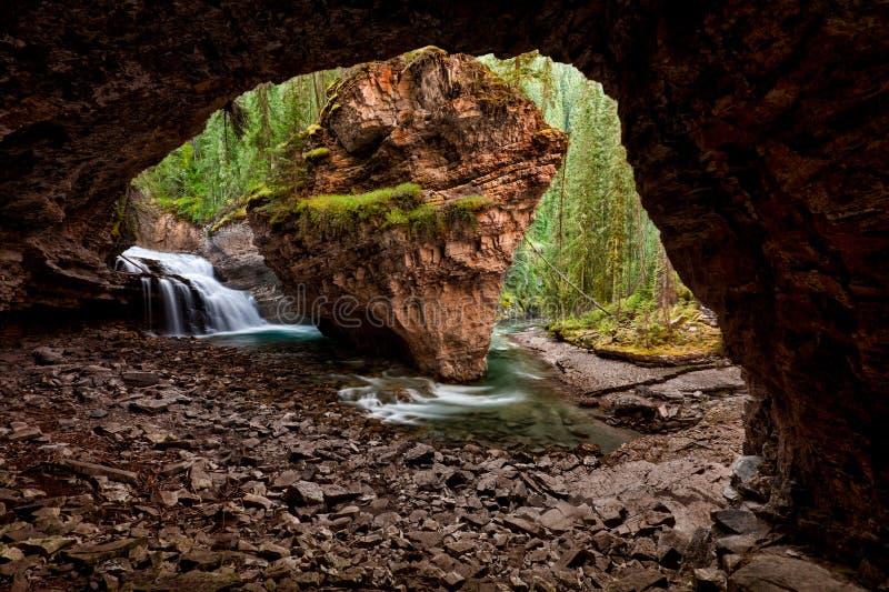 Спрятанный водопад в следе заводи каньона Johnston, соотечественнике Banff стоковая фотография