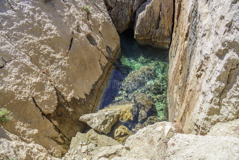Спуск в пещеру моря на береге стоковое изображение