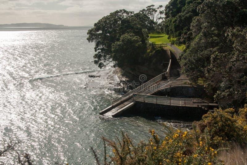 Спуск к морю, полуостров Whangaparaoa, Новая Зеландия стоковое фото rf