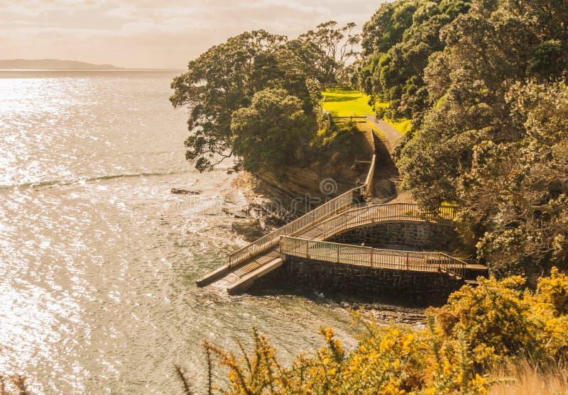 Спуск к морю, полуостров Whangaparaoa, Новая Зеландия стоковое изображение rf