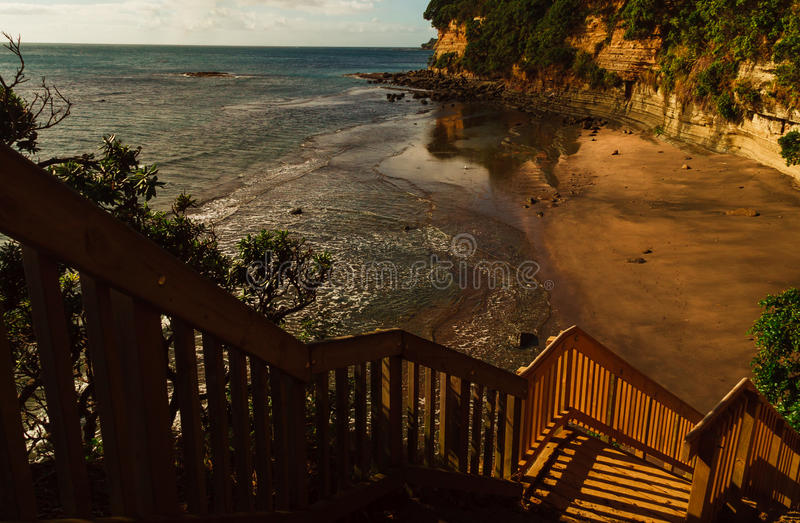Спуск к морю, полуостров Whangaparaoa, Новая Зеландия стоковая фотография