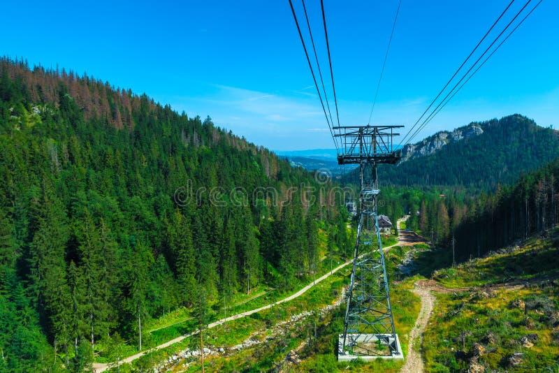 Спуск от горы в фуникулярном, снимающ красивое стоковые фотографии rf