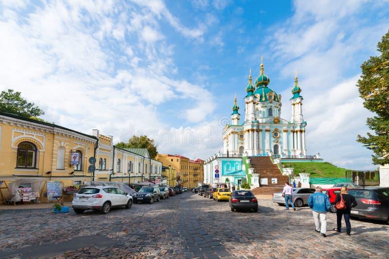 Спуск Эндрью главная туристическая достопримечательность в Киеве, Ukrain стоковая фотография rf