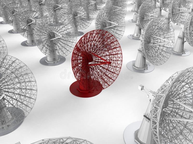 Спутниковая антенна-тарелка - цель в толпе бесплатная иллюстрация