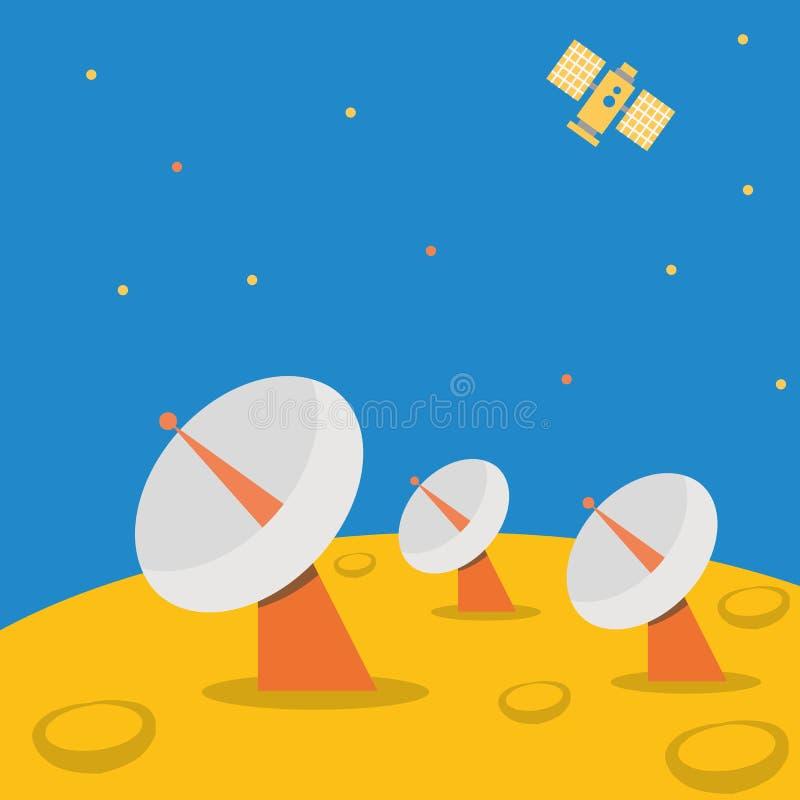 Спутниковая базовая станция на сцене планеты иллюстрация штока