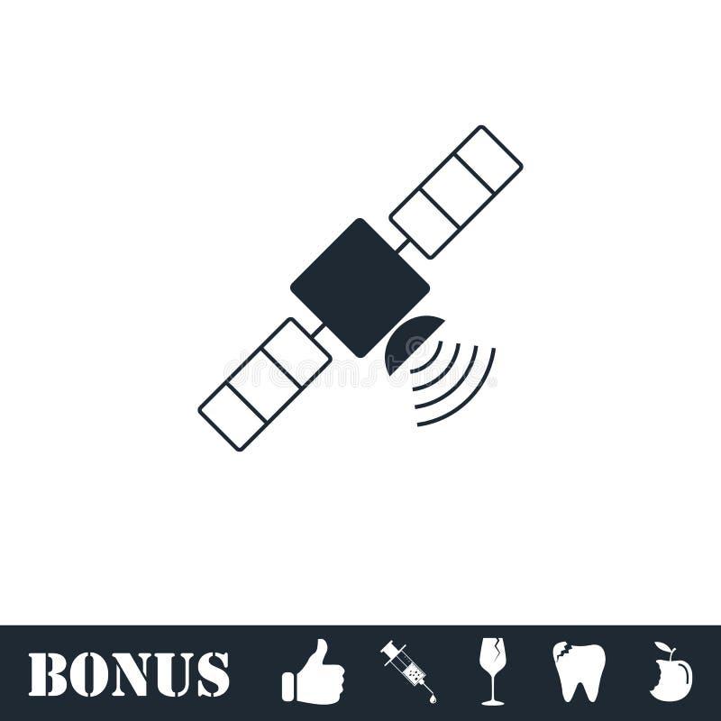 Спутниковая квартира значка иллюстрация вектора
