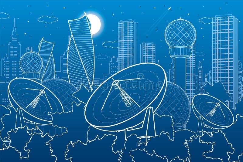 Спутниковые антенна-тарелки в древесинах, техника связи антенны, метеорологическая станция, установки радиолокатора, город ночи,  иллюстрация вектора