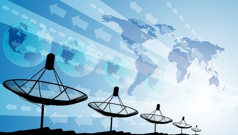 Спутниковые антенна-тарелки на крыше с миром и графическим влиянием, предпосылкой технологии стоковое изображение rf