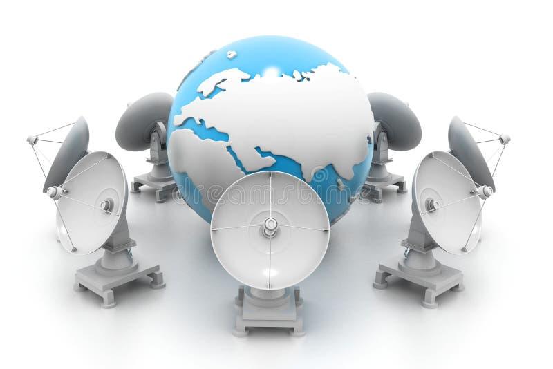 Спутниковые антенна-тарелки и земля иллюстрация штока