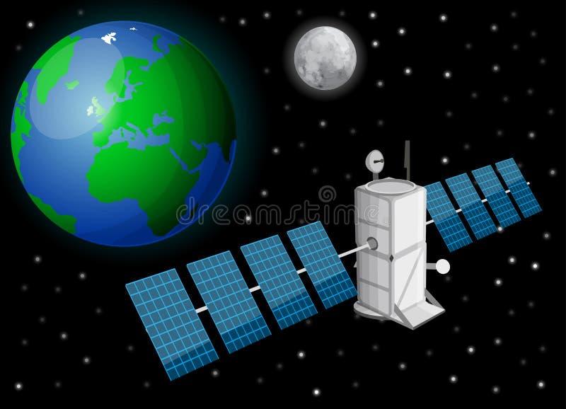 Спутник в космосе иллюстрация штока