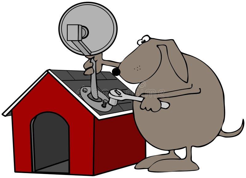 спутник дома собаки тарелки иллюстрация вектора