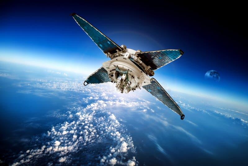 Спутник космоса над землей планеты стоковые фотографии rf