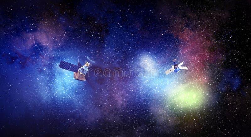 Download Спутник космоса над звёздной предпосылкой Мультимедиа Стоковое Изображение - изображение насчитывающей полет, космос: 81807487