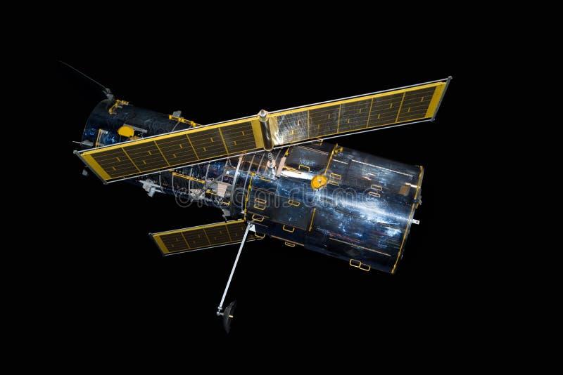 Спутник космоса против черной предпосылки стоковые изображения