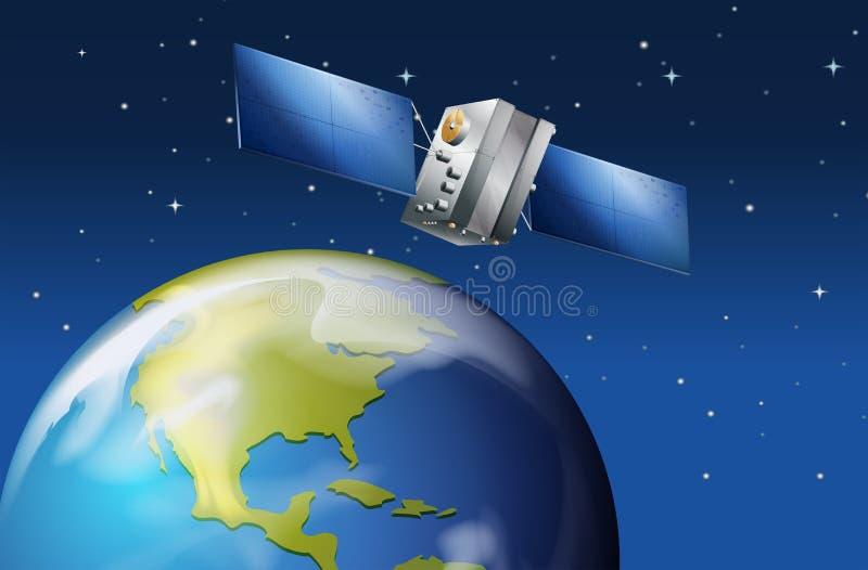 Спутник около земли планеты иллюстрация вектора
