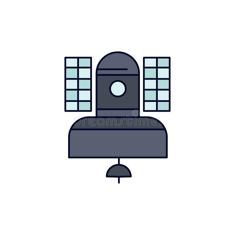Спутник, передача, широковещание, сообщение, вектор значка цвета радиосвязи плоский иллюстрация вектора