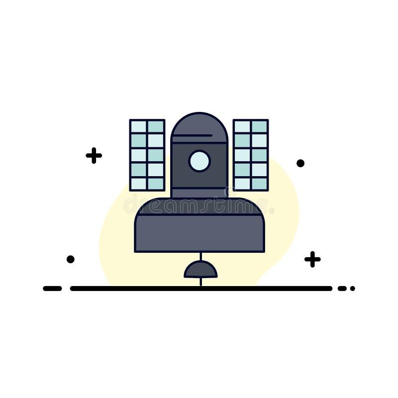 Спутник, передача, широковещание, сообщение, вектор значка цвета радиосвязи плоский иллюстрация штока