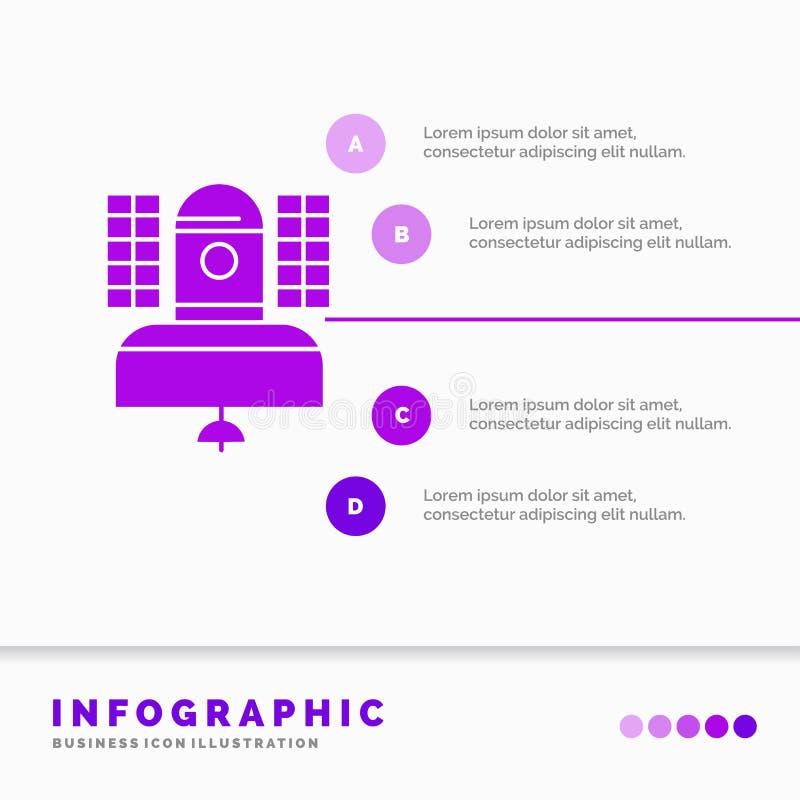Спутник, передача, широковещание, сообщение, шаблон Infographics радиосвязи для вебсайта и представление Глиф иллюстрация вектора
