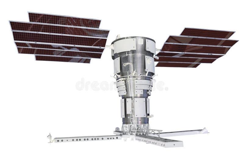Спутник при панели солнечных батарей, изолированные на белой предпосылке стоковые изображения rf