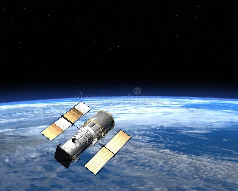 Спутник связи двигая по орбите земля в космосе иллюстрация штока