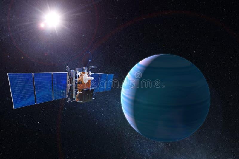 Спутник связи космоса в планете высокой орбиты голубой Элементы этого изображения поставленные NASA стоковое изображение rf