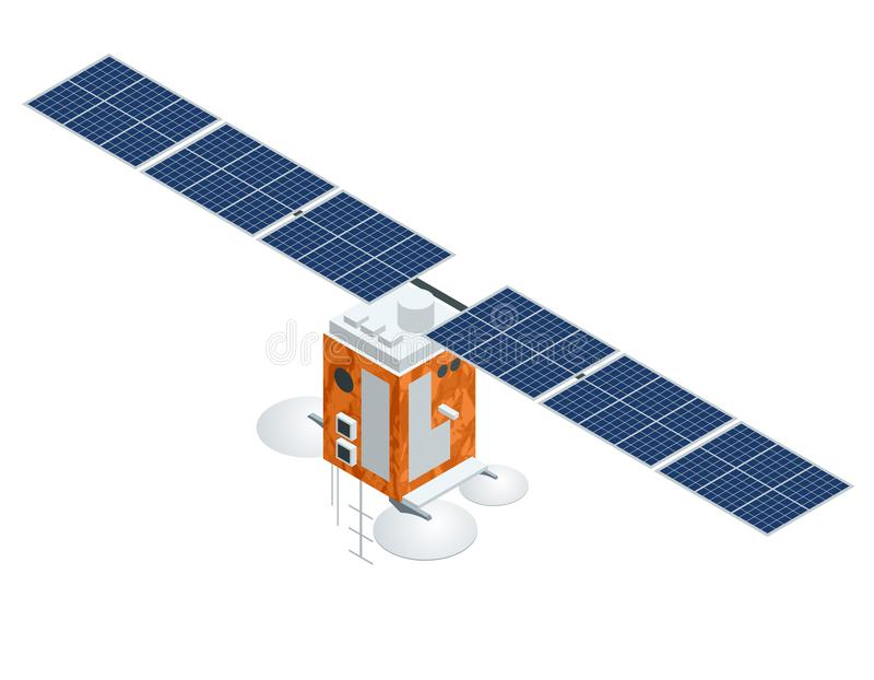 Спутник GPS Иллюстрация плоского вектора равновеликая Беспроволочная спутниковая технология иллюстрация штока