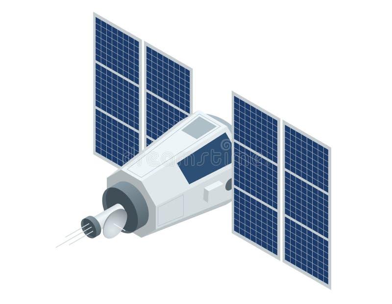 Спутник GPS Иллюстрация плоского вектора 3d равновеликая Беспроволочная спутниковая технология бесплатная иллюстрация