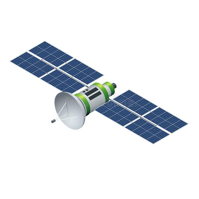 Спутник GPS Спутник двигая по орбите изолированный на белизне Иллюстрация плоского вектора 3d равновеликая иллюстрация вектора