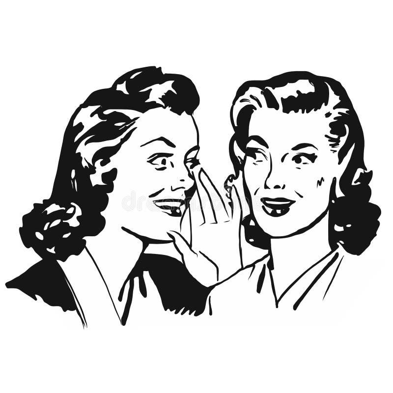 Сплетня 2 винтажная девушек иллюстрация вектора