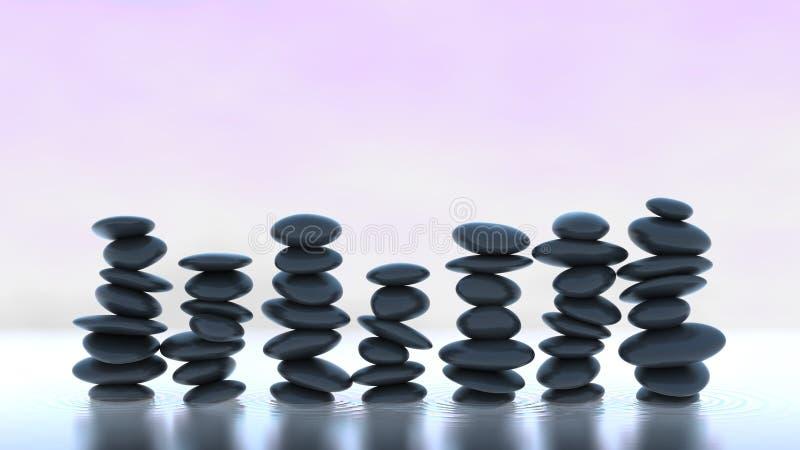 Сработанность и баланс. Много стогов камушка на воде стоковое изображение