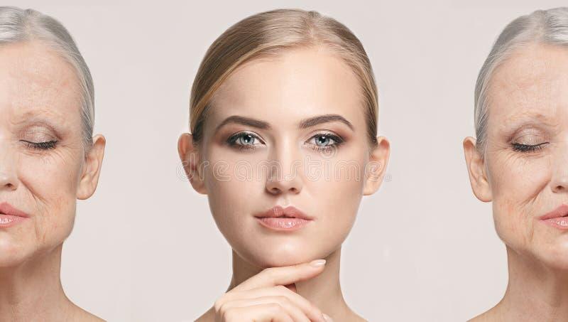 сравнение Портрет красивой женщины с проблемой и чистой концепцией кожи, вызревания и молодости, косметикой стоковая фотография rf