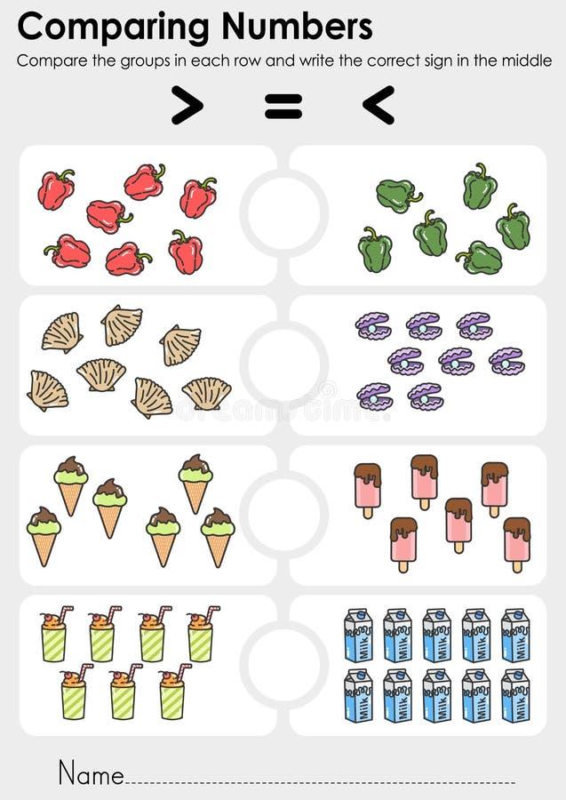 Сравнивать рабочее лист номеров для образования - Сравните группы в каждой строке и напишите правильный знак в середине бесплатная иллюстрация