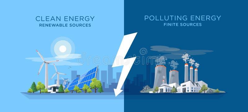 Сравнивать чистый и загрязнять электростанции энергии иллюстрация вектора