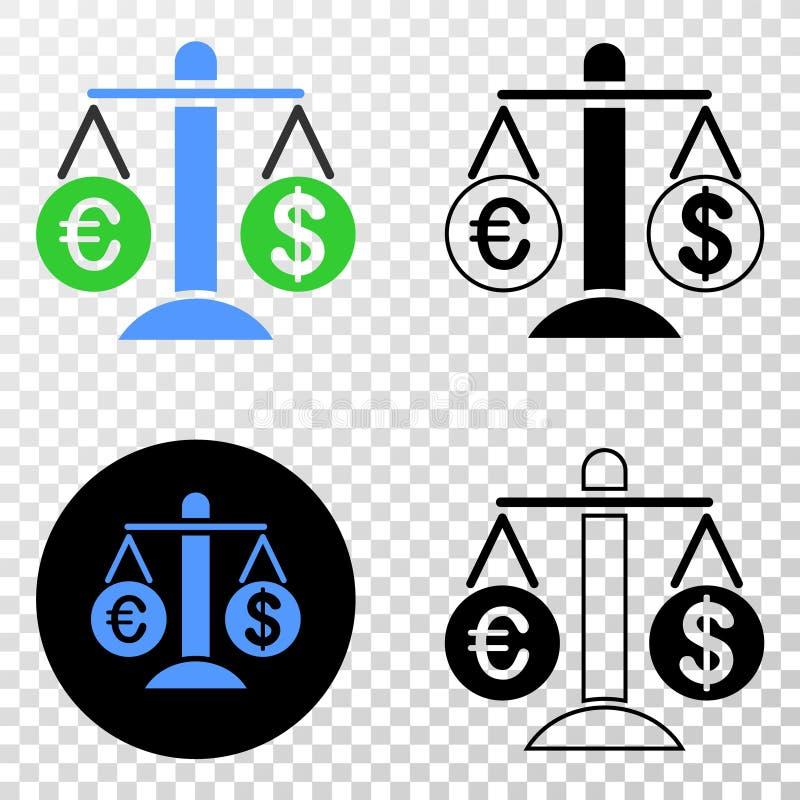 Сравните значок EPS вектора доллара евро с версией контура иллюстрация штока