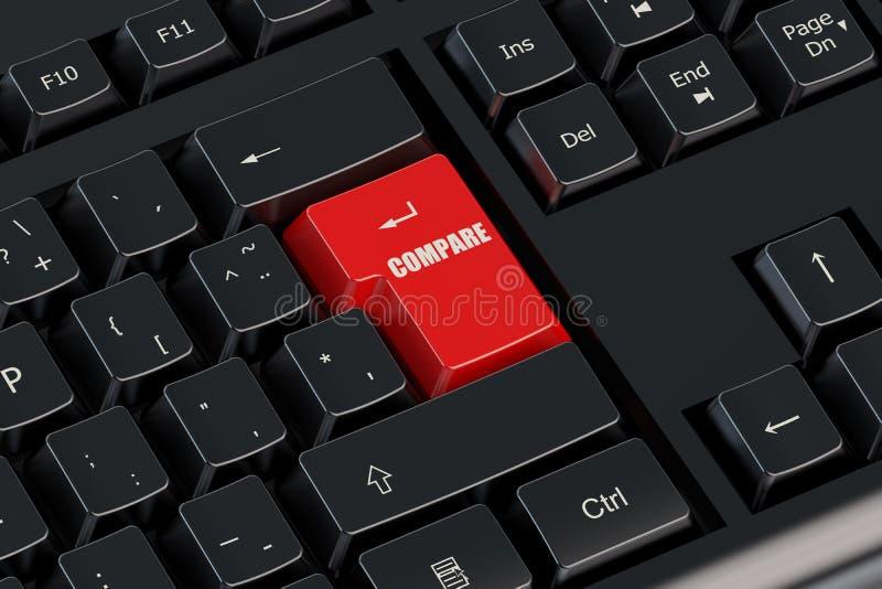 Сравните красную кнопку иллюстрация вектора