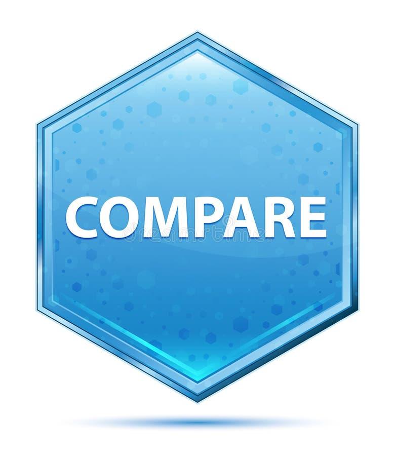 Сравните кристаллическую голубую кнопку шестиугольника иллюстрация штока