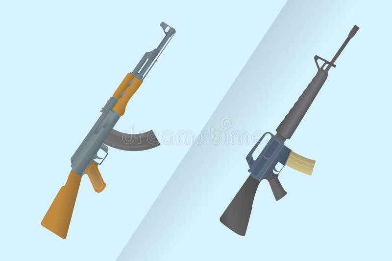 Сравните между Америкой m-16 против автомата Калашниковаа ak-47 России с современным голубым стилем предпосылки - иллюстрация вектора
