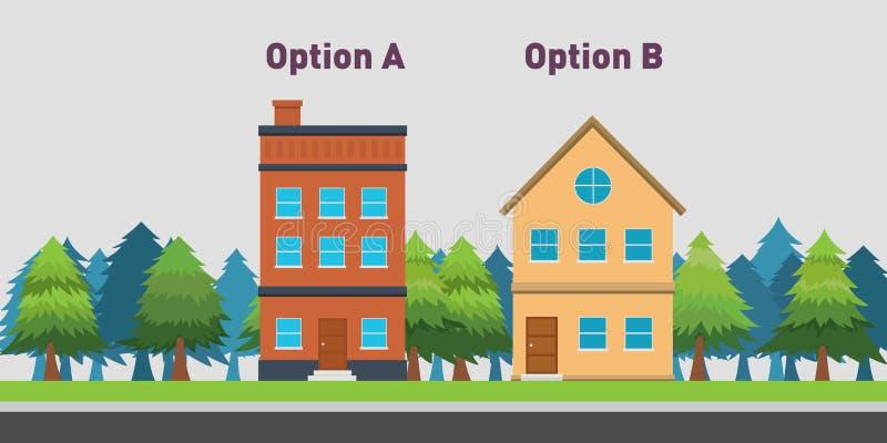 Сравните между домом 2 для того чтобы купить с вариантом a и b иллюстрация вектора