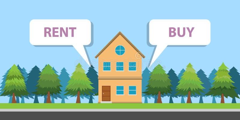 Сравните между покупкой или арендуйте свойство дома иллюстрация штока