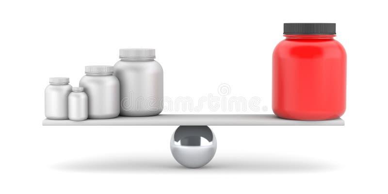 Сравните дополнения или лекарства иллюстрация вектора