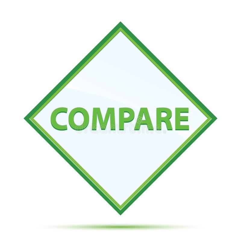 Сравните современную абстрактную зеленую кнопку диаманта иллюстрация штока