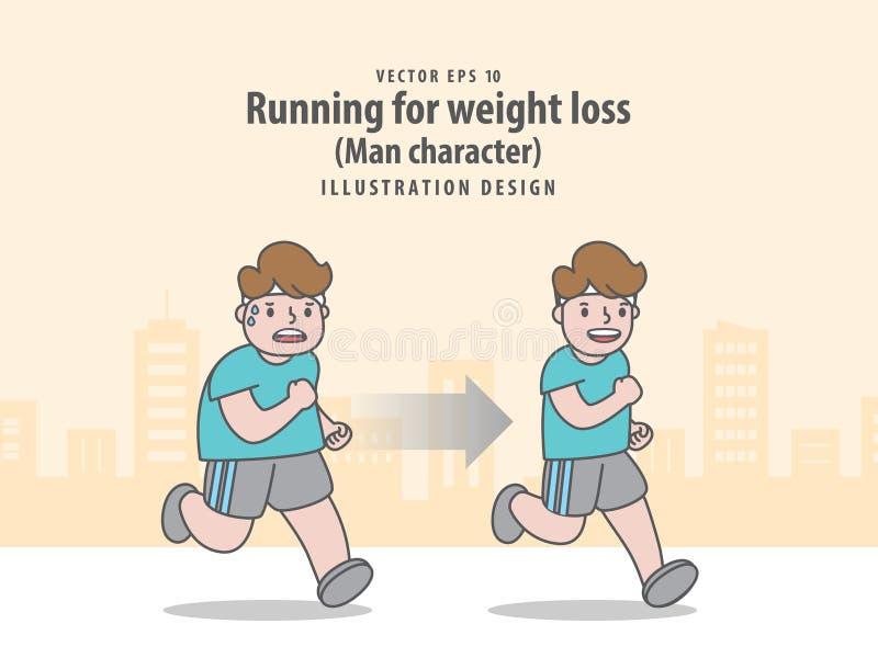 Сравните характер человека бежать для потери веса в предпосылке города иллюстрация штока