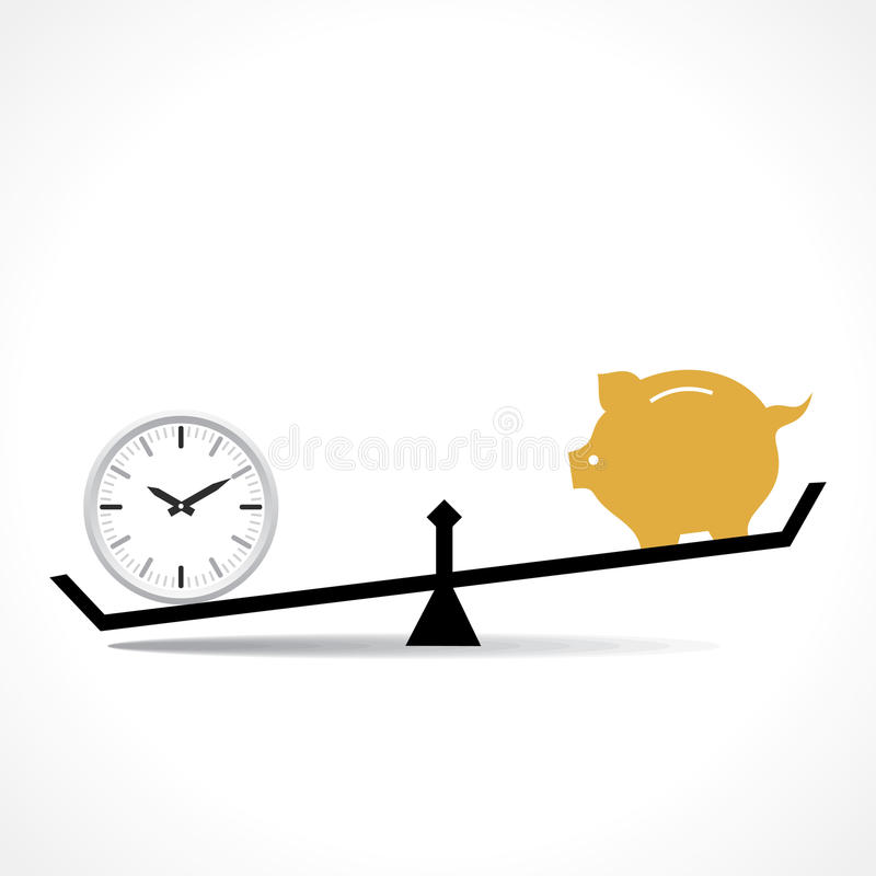 Сравните часы и копилка, время деньги схематические бесплатная иллюстрация