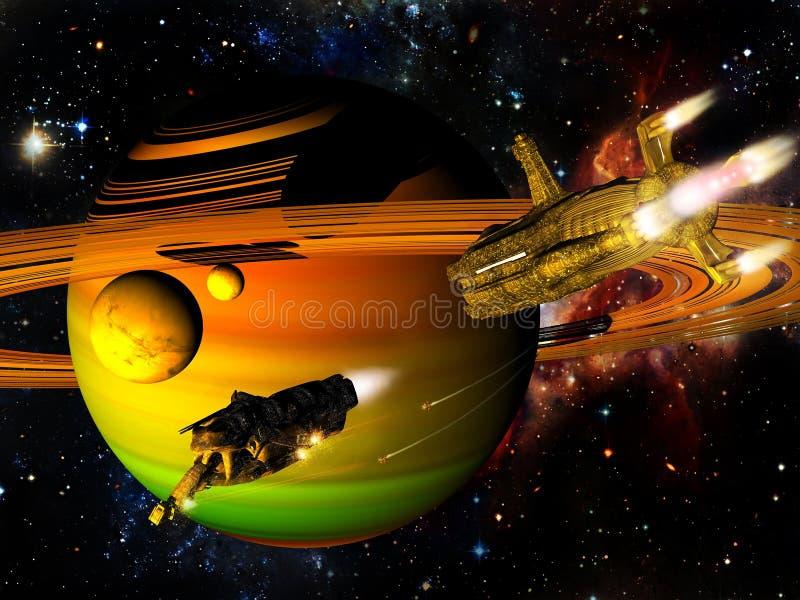 Сражение космических кораблей иллюстрация штока