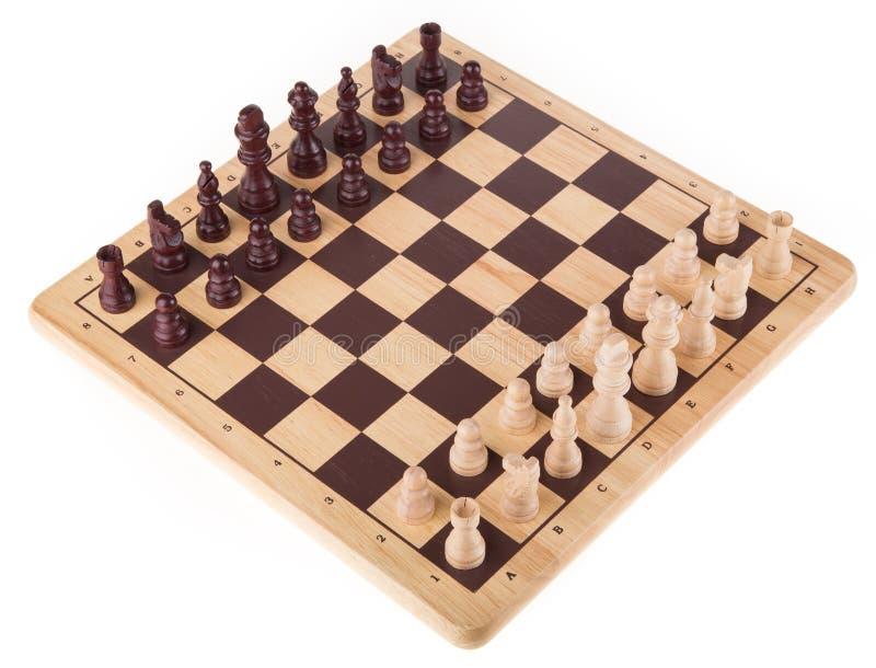 Сражение шахмат на деревянной доске стоковое изображение rf